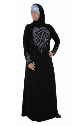 "ABAYA STRASS ""ASSIA"" manches lycra"