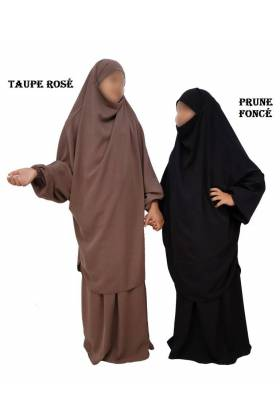 "JILBAB 2 PIECES ""ENFANT"" EL BASSIRA (Wool peach)"