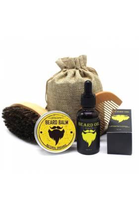 Kit Soin Barbe ( 5 pièces) Huile+Baume+Peigne+Brosse+Sacoche