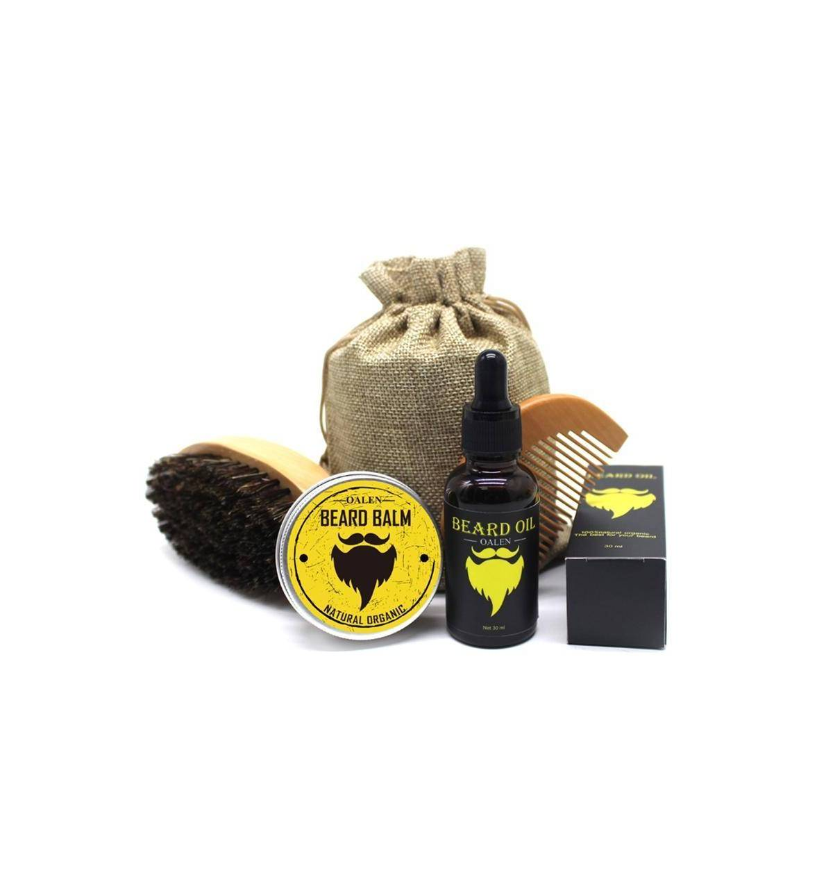 kit soin barbe 5 pi ces huile baume peigne brosse sacoche bismillah boutique. Black Bedroom Furniture Sets. Home Design Ideas