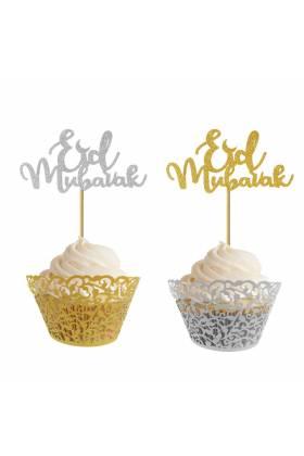 """Piques """"Eid Mubarak"""" cupcake argent et or - Lot de 10-"""