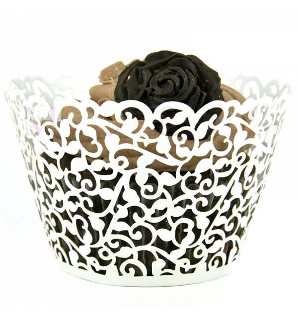 Entourages Colerettes Cupcake Dentelle Papier x10