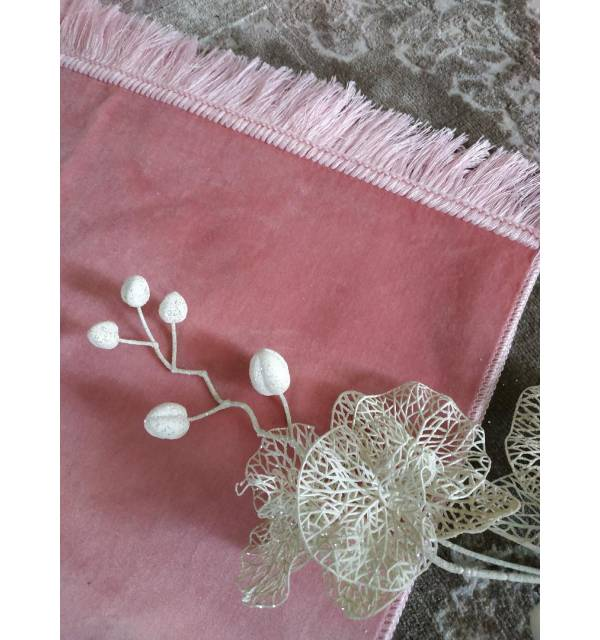 Tapis de Prière Velours Luxe couleur unie ROSE POUDRE