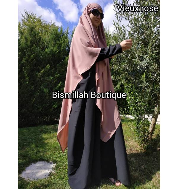 Khimar Ihsane à pointe Modèle long (Wool peach)