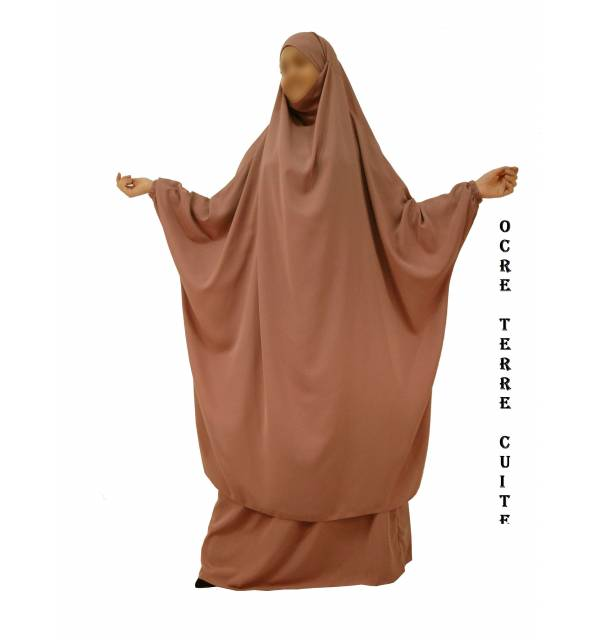 "JILBAB 2 PIECES SEMI-PAPILLON ""EL BASSIRA"" (Wool peach)"
