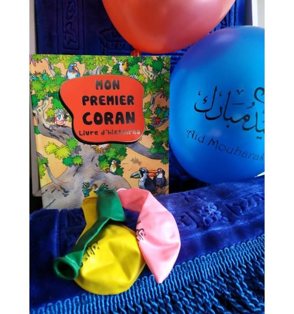 """Pack Cadeau Enfant : Mon Premier Coran + Tapis de prière enfant + 10 ballons multicolores """"Aïd Moubarak"""""""